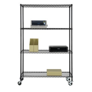 Excel NSF Multi-Purpose 4-Tier Wire Shelving Unit with Casters, 48 in. x 18 in. x 77 in., Black