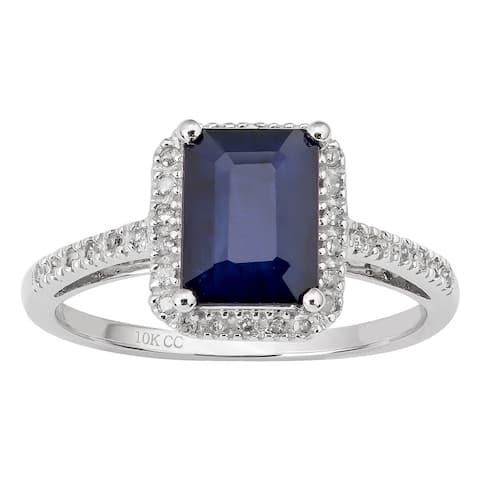 Viducci 10k White Gold Genuine Emerald-cut Sapphire and Diamond Ring