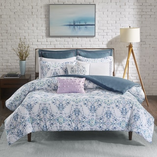 Madison Park Erica Blue 9 Pieces Cotton Sateen Printed Duvet Cover Set
