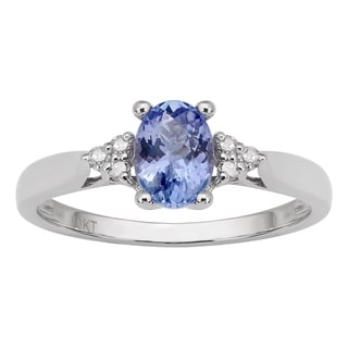 Viducci 10k White Gold Genuine Oval Tanzanite and Diamond Ring