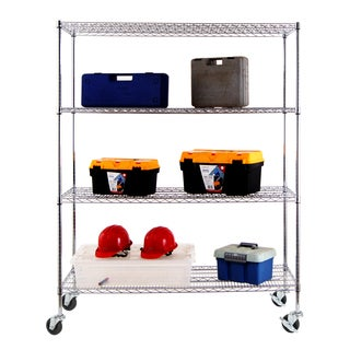 Excel NSF Multi-Purpose 4-Tier Wire Shelving Unit with Casters, 60 in. x 24 in. x 77 in., Chrome