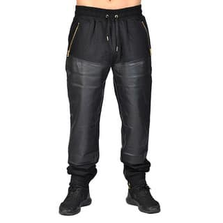 Half PU Leather Buttom Jogger 3 Zipper Pocket with Drawstring and Cuff Zipper Buttom|https://ak1.ostkcdn.com/images/products/17097708/P23368350.jpg?impolicy=medium