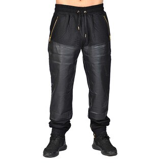 Half PU Leather Buttom Jogger 3 Zipper Pocket with Drawstring and Cuff Zipper Buttom