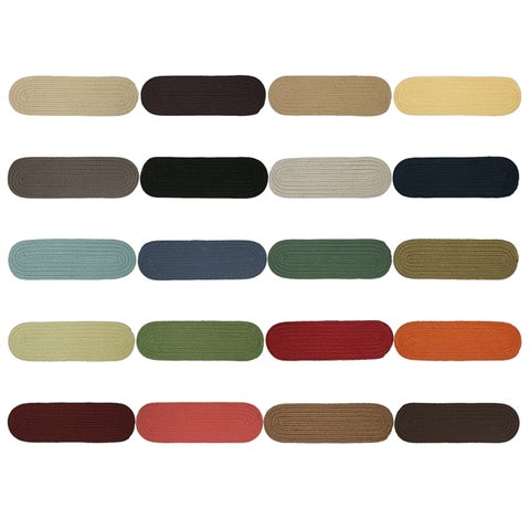 Twenty-Colors Solid Oval Braided Stair Treads (Set of 13) - 8 Inch x 28 Inch