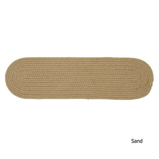 Twenty-Colors Solid Oval Braided Stair Treads (Set of 13) - 8 Inch x 28 Inch (Option: Sand)