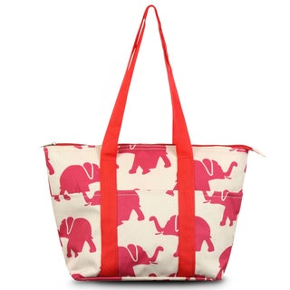 Zodaca Fashion Elephant Print Large Insulated Zip Top Lunch Bag Women Tote Cooler Picnic Travel Food Box Carry Bags for Camping