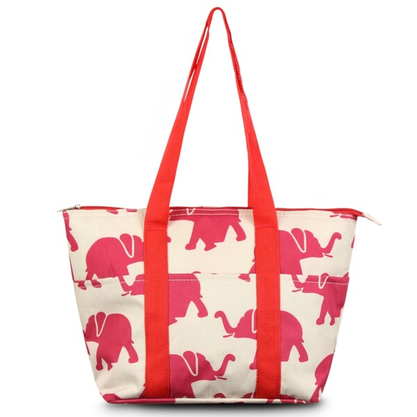 shop zodaca fashion elephant print large insulated zip top lunch bag women tote cooler picnic. Black Bedroom Furniture Sets. Home Design Ideas