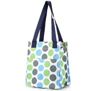 Zodaca Blue Polka Dot Insulated Lunch Bag Women Tote Cooler Picnic Travel Food Box Zipper Carry Bag for Camping
