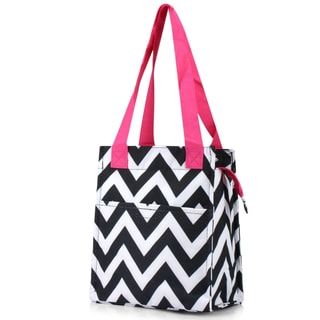 Zodaca Black/ White/ Pink Insulated Lunch Bag Women Tote Cooler Picnic Travel Food Box Zipper Carry Bags for Camping