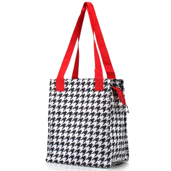 Zodaca Red Houndstooth Insulated Lunch Bag Women Tote Cooler Picnic Travel Food Box Zipper Carry Bags