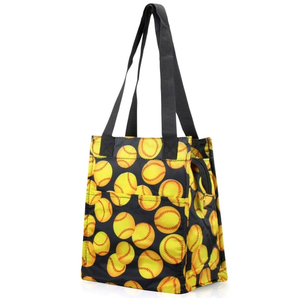Zodaca Yellow Softball Insulated Lunch Bag Women Tote Cooler Picnic Travel Food Box Zipper Carry Bags