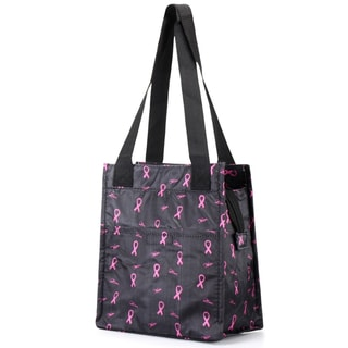 Zodaca Black/ Pink Insulated Lunch Bag Women Tote Cooler Picnic Travel Food Box Zipper Carry Bags for Camping