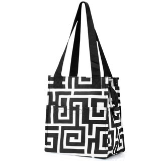 Zodaca Black Greek Key Insulated Lunch Bag Women Tote Cooler Picnic Travel Food Box Zipper Carry Bags for Camping