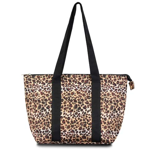 Zodaca Fashion Leopard Large Insulated Zip Top Lunch Bag Women Tote Cooler Picnic Travel Food Box Carry Bags for Camping