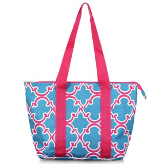 Zodaca Fashion Blue Quatrefoil Large Insulated Zip Top Lunch Bag Women Tote Cooler Picnic Travel Food Box Carry Bags for Camping