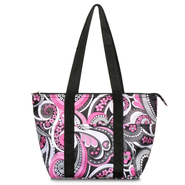 shop zodaca fashion purple paisley large insulated zip top lunch bag women tote cooler picnic. Black Bedroom Furniture Sets. Home Design Ideas
