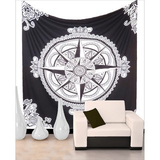 Black and White Mandala Star Patterned Bohemian Tapestry