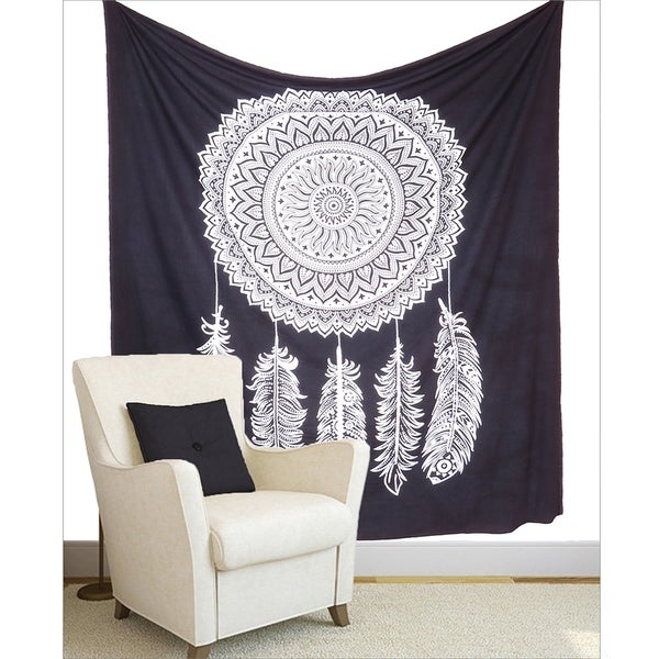Black and White Dream Catcher Boho mandala Wall Hanging Tapestry