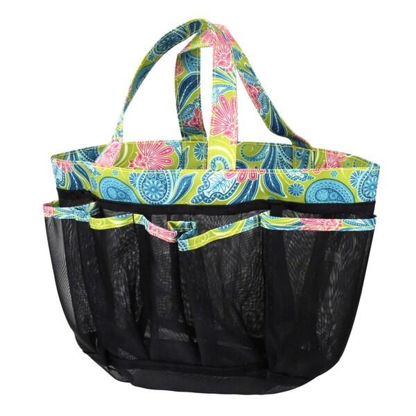Zodaca Green Paisley Lightweight Mesh Shower Caddie Bag Quick Dry Bath Organizer Carry Tote Bag for Gym Camping