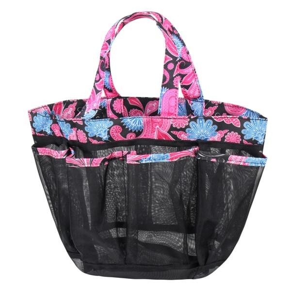 Zodaca Pink Paisley Lightweight Mesh Shower Caddie Bag Quick Dry Bath Organizer Carry Tote Bag for Gym Camping
