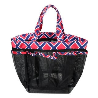 Zodaca Navy/ Red Lightweight Mesh Shower Caddie Bag Quick Dry Bath Organizer Carry Tote Bag for Gym Camping