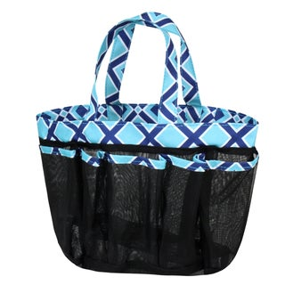 Zodaca Navy/ Turquoise Lightweight Mesh Shower Caddie Bag Quick Dry Bath Organizer Carry Tote Bag for Gym Camping