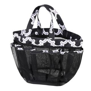 Zodaca Black Quatrefoil Lightweight Mesh Shower Caddie Bag Quick Dry Bath Organizer Carry Tote Bag for Gym Camping