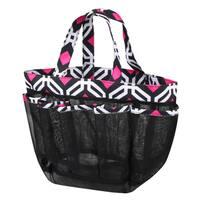 Zodaca Black Graphic Lightweight Mesh Shower Caddie Bag Quick Dry Bath Organizer Carry Tote Bag for Gym Camping