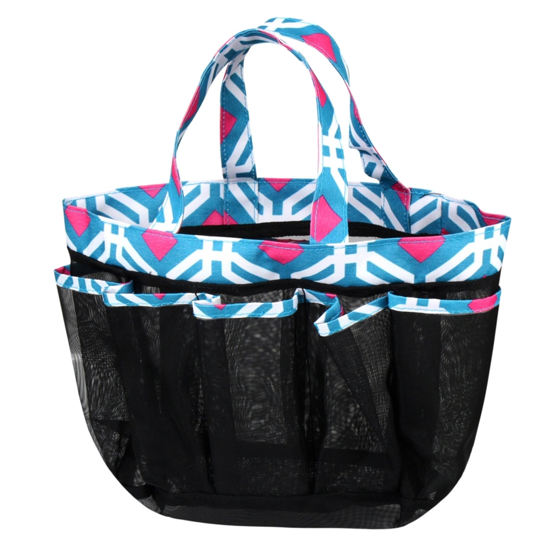 Zodaca Blue Graphic Lightweight Mesh Shower Cad Bag Quick Dry Bath Organizer Carry Tote For Gym Camping
