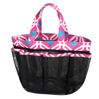 Zodaca Pink Graphic Lightweight Mesh Shower Caddie Bag Quick Dry Bath Organizer Carry Tote Bag for Gym Camping