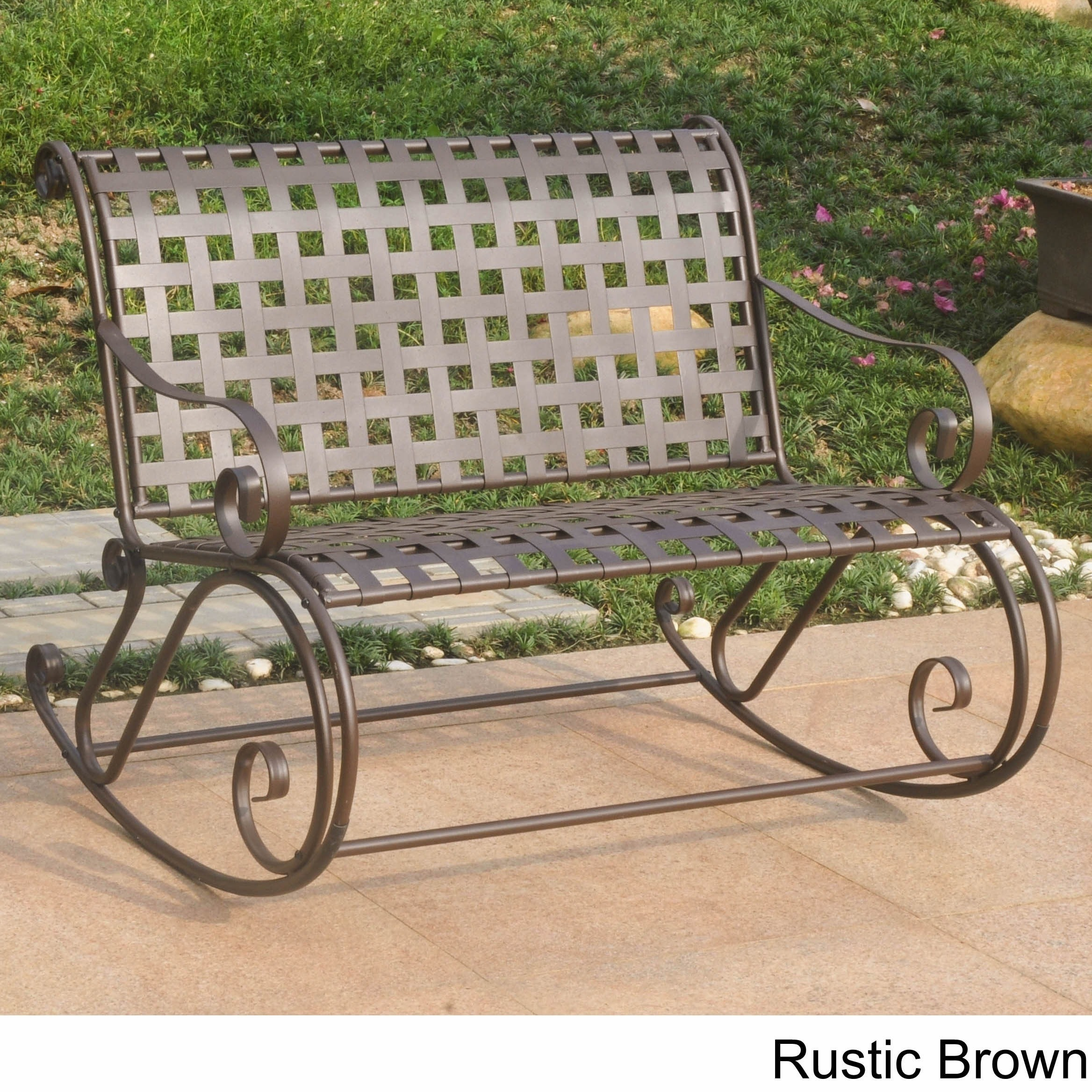 International Caravan Mandalay Iron Double Rocker Bench (...