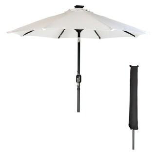 9' Solar LED Patio Umbrella with Black Umbrella Cover by Trademark Innovations (White)