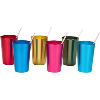 18 oz. Retro Aluminum Tumblers - 6 cups - By Trademark Innovations (Assorted Colors)