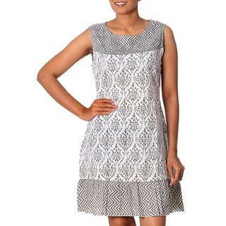 Handmade Cotton 'Grey Beauty' Shift Dress Medium Size (India) (As Is Item)