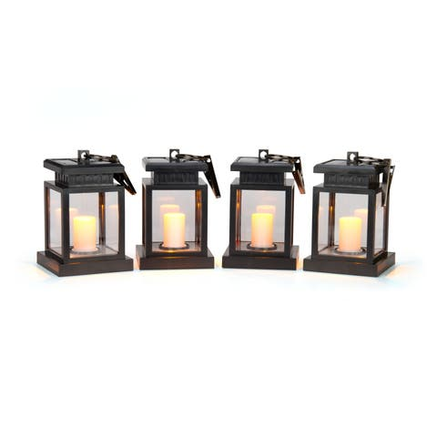 "5"" LED Solar Hanging Umbrella Lantern Candle Lights - Amber Color - Set of 4 by Trademark Innovations"