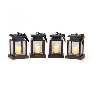 "5"" LED Solar Hanging Umbrella Lantern Candle Lights - Amber Color - Set of 4 by Trademark Innovations"