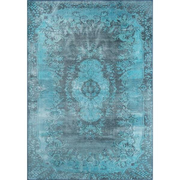 "Momeni Afshar Machine Made Polyester Blue Area Rug - 7'6"" x 9'6"""
