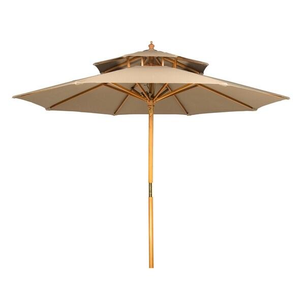 9u0026#x27; Wood 2 Tier Pagoda Style Patio Umbrella By Trademark Innovations  (Tan