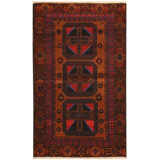 Herat Oriental Afghan Hand-knotted Tribal Balouchi Wool Rug (2'8 x 4'7)