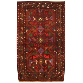 Herat Oriental Afghan Hand-knotted Tribal Balouchi Wool Rug (4'2 x 7')