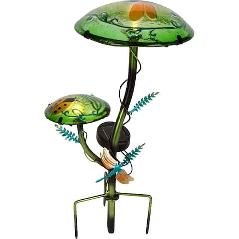"12"" Solar Mushroom Garden Stake with Butterfly Design by Trademark Innovations"
