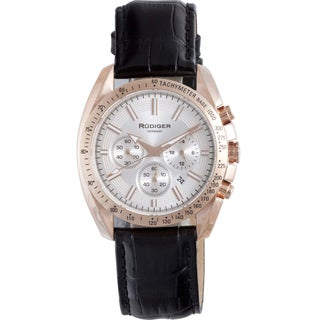 Rudiger Men's Rose-tone Stainless Steel and Leather Quartz Watch - Black