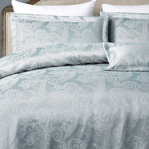 Queen Duvet Cover Hotel Paisley Luxe Jacquard Design 3 Pc King