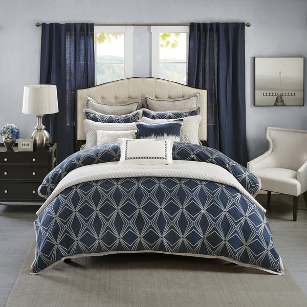 Madison Park Signature Stardust Navy Jacquard And Metallic Thread  Comforter Set