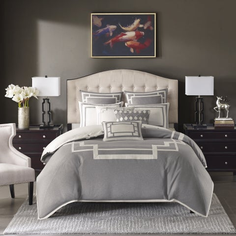 Madison Park Signature Savoy Grey Jacquard Pieced Comforter Set