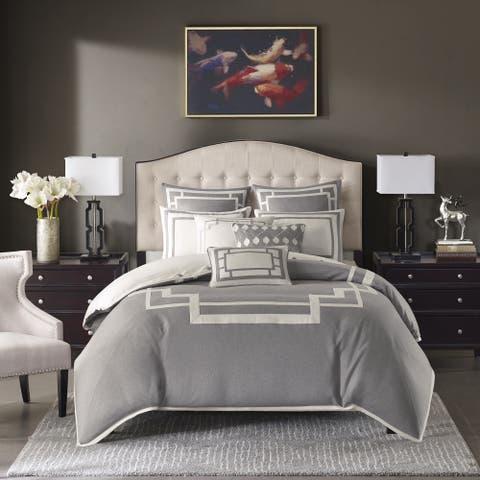 Madison Park Signature Savoy Grey Jacquard Pieced Comforter Set