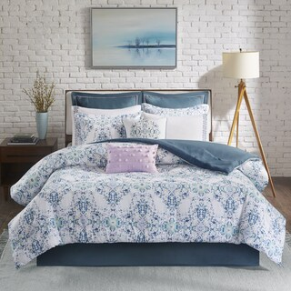 Madison Park Erica Blue Cotton Sateen Printed 10-piece Comforter Set (3 options available)