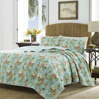 Tommy Bahamma Orchid Days Blue Quilt Set