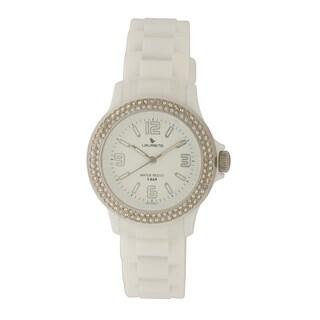 Laurens Basic Women's Quartz Crystal White Rubber Strap Watch