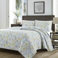 Tommy Bahama Newport Silver Quilt Set